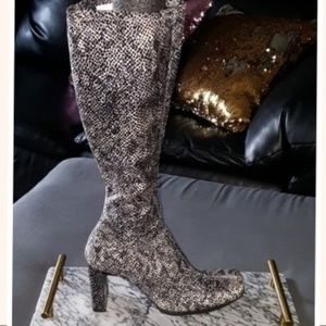 Chinese Laundry Snake Skin Knee High Boots